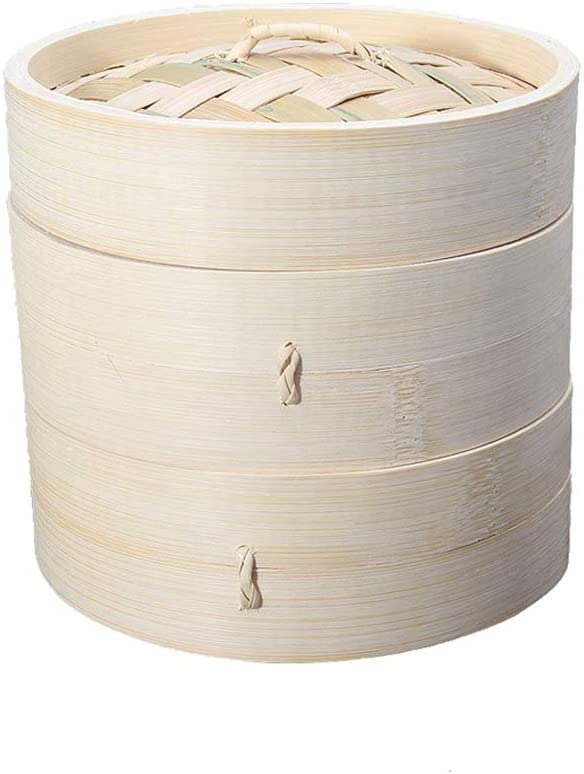 Two Tier Baskets - Premium 6 Inch Natural Bamboo Steamer Asian Kitchen - Dim Sum Dumpling &Chinese Food Steamers - Steam Baskets For Rice, Vegetables, Meat & Fish Included 20 Liners & Sauce Dish