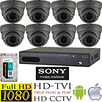 USG HD-TVI 8 Camera 1080P CCTV Kit: 8x HD-TVI 1080P 2MP 2.8-12mm Vari-Focal Lens Dome Cameras + 1x 8 Channel Full 1080P HD-TVI 1080P DVR + 1x 3TB HDD *** High Definition Video Surveillance For Your Home or Business