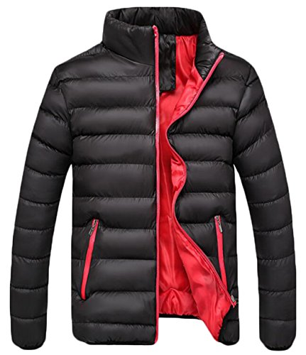 US Men's Thick Warm Black Jacket EKU Winter Zipper Coat Fashion XL Down AwqUCvxC4d