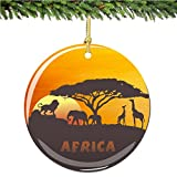 Arican Christmas Ornament with Lion, Elephant and Giraffe, Porcelain 2.75 Inch Christmas Ornaments