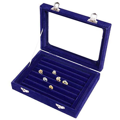 Pasutewel Earring Storage Case 7 Slots Ring Velvet Display Case Box Earring Ring Organizer Velvet Jewelry Tray Cufflink Storage Showcase with Clear Glass Lid Blue ()