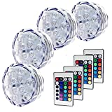 AomeTech 4X LED Waterproof Battery Powered Submersible LED Lighting Accent Lights Night Mood lights with IR Remotes for Aquarium, Pond, Party, Wedding, Vase Base,Halloween, Christmas, Holiday Lighting