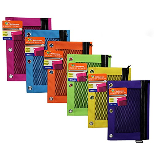 - BAZIC Bright Color 3-Ring Pencil Pouch w/ Mesh Window - 24 Pack (804-24)