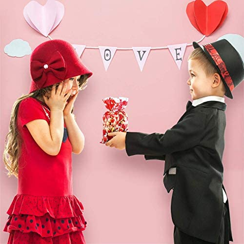 100 Pieces Valentines Party Cellophane Treat Bags Mixed Heart Print Party Bag Plastic Goodie Candy Favor Bags Present Bags with 200 Pieces Gold and Red Twist Ties for Valentine's Day Party Supplies
