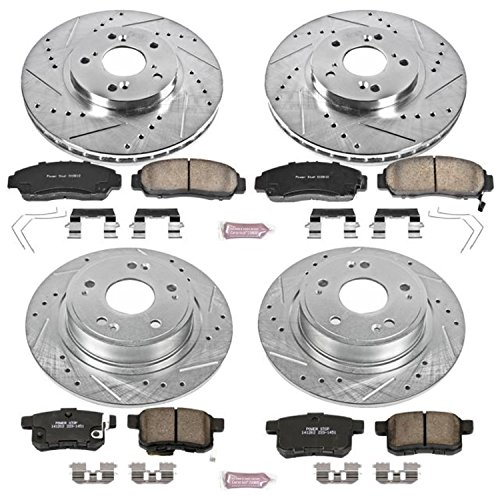 Power Stop K5391 Front & Rear Brake Kit with Drilled/Slotted Brake Rotors and Z23 Evolution Ceramic Brake Pads