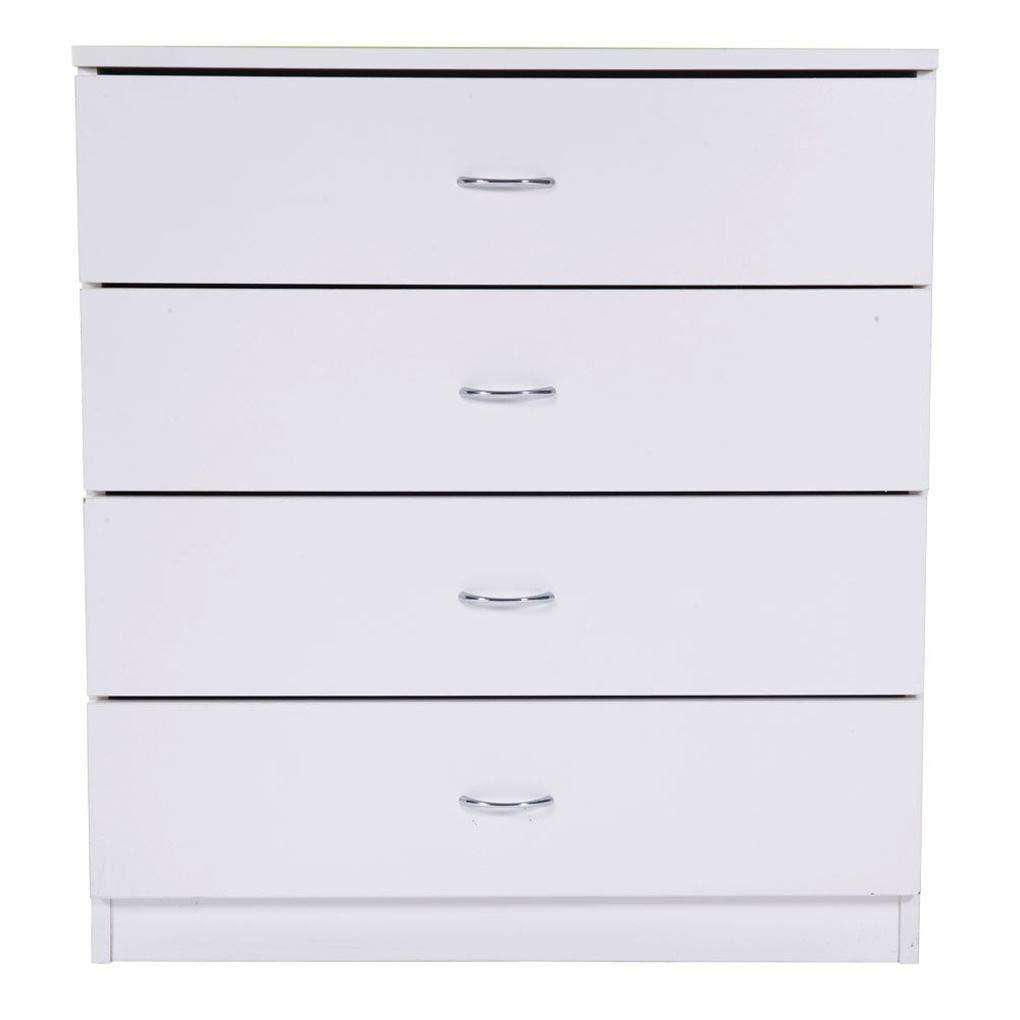 AUWU MDF Wood White Simple 4-Drawer Dresser Bedside Table Bedroom Storage Cabinet Wooden Nightstand