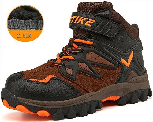 Littleplum Kids Hiking Boots Mid Slip Resistant Kids Outdoor Shoes ()