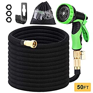 """hairmiss Garden Hose 50 FT,Expandable Water Hose with 9 Function Spray Nozzle and Durable 3-Layers Latex, Lightweight Flexible Hose with 3/4"""" Solid Brass Fittings,Kink Free Retractable Garden Hose"""