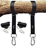 Tree Swing Straps Hanging Kit Holds 1200lbs, Easy & Fast To Installation Swing Hanger, 2 Tree Straps(5 FT )and 2 Safety Lock Carabiner Hooks, Perfect For Swings and Hammocks-100% Waterproof (Black) Review