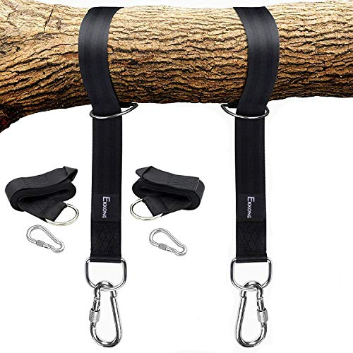 (Tree Swing Straps Hanging Kit Holds 1200lbs, Easy & Fast To Installation Swing Hanger, 2 Tree Straps(5 FT )and 2 Safety Lock Carabiner Hooks, Perfect For Swings and Hammocks-100% Waterproof (Black))