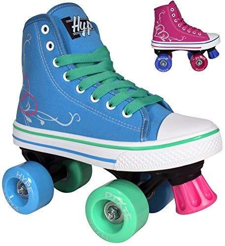 Hype Pixie Kids Roller Skates for Kids Children - Girls and Boys - Kids Rollerskates - Childrens Quad Derby Roller Skate for Youths Boy/Girl - Kids Skates (Blue, Pink)