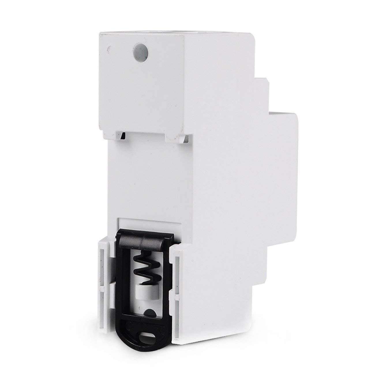 Blanco SINOTIMER 63A 80A Carril DIN Dispositivo de protecci/ón contra sobretensi/ón ajustable L/ímite de corriente Protecci/ón Volt/ímetro Amper/ímetro Kwh JIO-S
