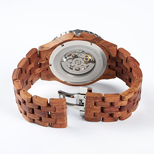 Wilds Wood Watches Premium Eco Self-Winding Wooden Wrist Watch For Men, Natural Durable Handcrafted Gift Idea for Him (Kosso) by Wilds (Image #2)