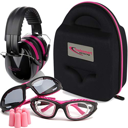 TRADESMART Shooting Range Earmuffs and Glasses - Ear and Eye Protection for The Gun Range with Protective Case, - UV400 Anti-Fog and Anti-Scratch Clear and Tinted Safety Glasses - NRR 28 (Pink)