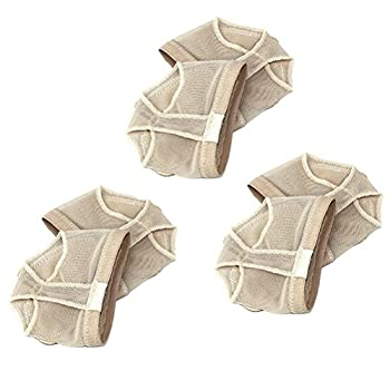 Tinksky 3 Pairs Forefoot Cushions Ballet Belly Dance Protective Forefoot Pads Covers - Size M (Beige)