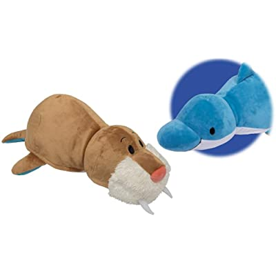 "FlipaZoo NEW!!! The 16"" Pillow with 2 Sides of Fun for Everyone - Each Huggable FlipaZoo character is Two Wonderful Collectibles in One (Dolphin/Walrus): Toys & Games"