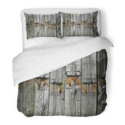 Full Batten (SanChic Duvet Cover Set Gray Sleeper Weathered Wooden Beams Wood Abstract Bar Battens Board Decorative Bedding Set with 2 Pillow Shams Full/Queen Size)
