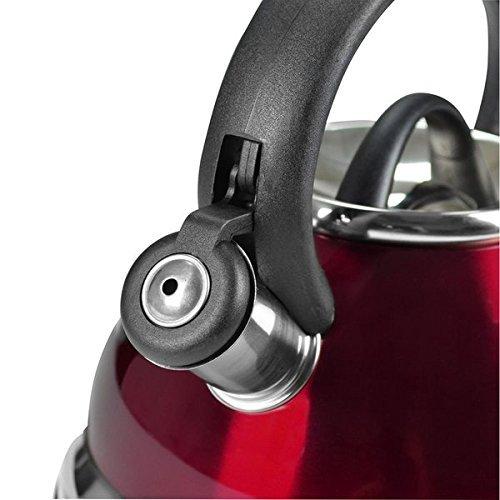 Home N Kitchenware Collection 2.8 Liter (3 Quart) Stainless Steel Whistling TeaKettle Teapot, Bakelite handle, Encapsulated Base 18/10 Stainless Steel Whistling Tea Kettle Pot (Red)