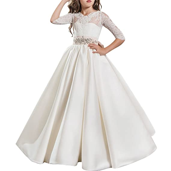 Flower Girls Lace Applique Dresses Kids Tulle Lace Spliced Embroidered  First Communion Dress Princess Wedding Bridesmaid Birthday Evening  Christening ... 0691e604cddb