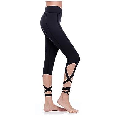 ea011765f1b797 Women Cutout Tie Cuff Leggings Slim Yoga Sports Pants Active Jogger Workout  Tights Capri Black S
