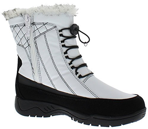 Totes Womens Elle White Snow Boot | Round Toe Mid Calf Flat Ankle High Eskimo Winter Fur Snow Boots Size - 8.5M (Available in Medium and Wide Width)