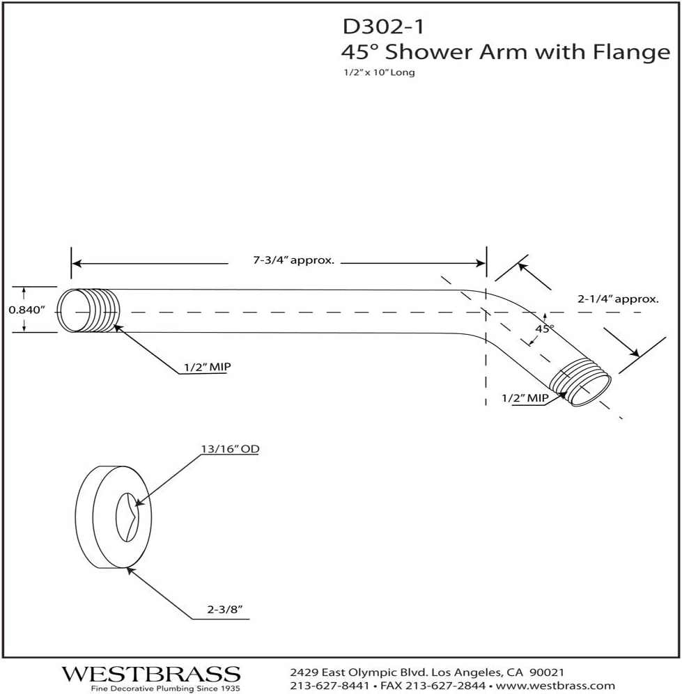 """Westbrass 1//2/"""" IPS x 10/"""" Shower Arm with Flange Polished Chrome D302-1-26"""