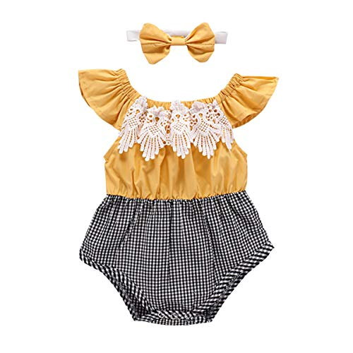 (Modn Toga Baby Girl Romper Ruffle Sleeve Lace Plaid Spliced Grid Jumpsuit + Bowknot 2pcs (Yellow,)