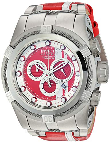 Invicta Men's Reserve Stainless Steel Quartz Watch with Leather-Synthetic Strap, red, 25.6 (Model: 26468) (Invicta Mens Watches Bolt)