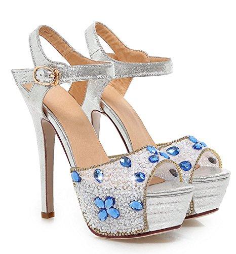 YE Frauen Peeptoes 13 cm Heels High Heel Plateau Stiletto Knoechelriemchen Party Elegante Pumps Mit Pailletten Sommer Glitzer Hochzeit Sandalen Schuhe Silber