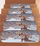 iPrint Non-Slip Carpets Stair Treads,Fox,Countryside Snow Landscape Furry Wild Animal Hunting Vulpine Cold Winter Print Decorative,Redwood Brown White,(Set of 5) 8.6''x27.5''