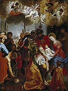Oil painting 'Balen Hendrik van La Adoracion de los Reyes Magos ' printing on high quality polyster Canvas , 30 x 40 inch / 76 x 102 cm ,the best Powder Room gallery art and Home decor and Gifts is this High Resolution Art Decorative Prints on Canvas