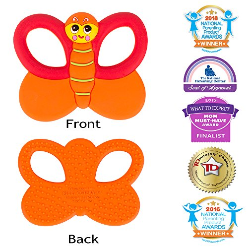 Silli Chews Baby Teethers Natural Silicone Teething Toy Butterfly Infant Pain Relief