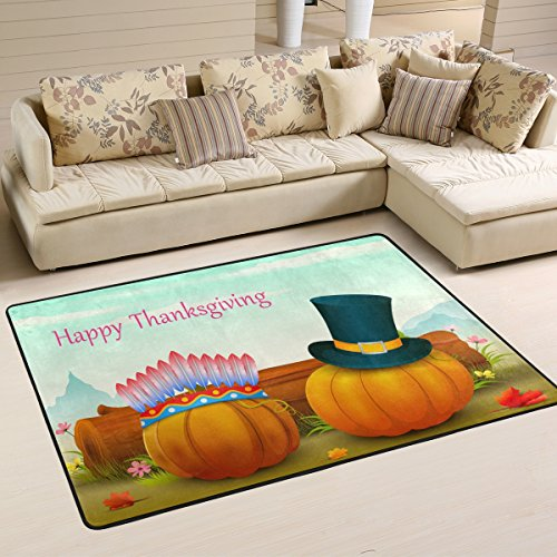 Beautiful Thanksgiving Wallpaper Fashion Pumpkins with Hats Area Rug Pad Non-Slip Kitchen Floor Mat for Living Room Bedroom 4' x 6' Doormats Home Decor