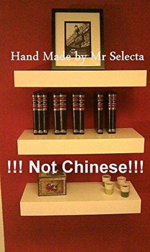 Mr Selecta Set of 3 24 Inch Veneer Lack Floating Wall Shelves Matte White