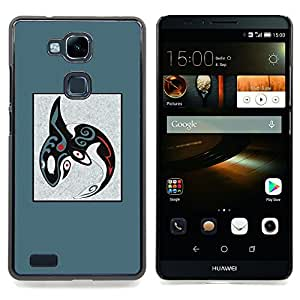 /Skull Market/ - Abstract Tribal Pattern Blue Whale Orca For HUAWEI Ascend Mate 7 - Mano cubierta de la caja pintada de encargo de lujo -