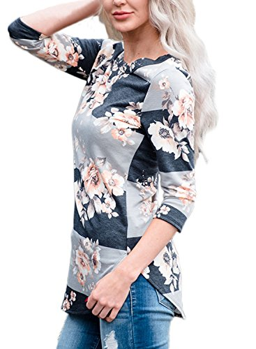 Xuerry Women 3 4 Sleeve Floral Print T Shirts Striped Casual Blouse Tops Grey L