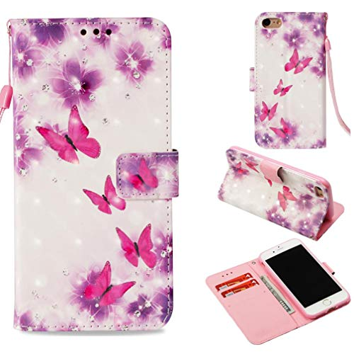 (iPhone 7 Case, iPhone 8 Case,Flip Kickstand Wallet Case with Inner Rubber Bumper 3D Printing Magnetic Credit Card Holder Anti-Scratch Full Protective Case for Apple iPhone 7/iPhone 8 -Butterfly Pink)