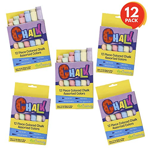 ArtCreativity Mini Chalk Set for Kids (12 Boxes) | Each Box Has 12 Blackboard Chalk Sticks | Non-Toxic Art and Craft Supplies | Birthday Party Favors for Boys and Girls | Fun Goody Bag Fillers]()