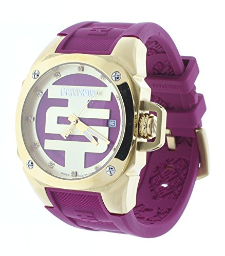 Technosport Swarovski Crystal 38mm Gold Case Cranberry Silicone Strap Women's Watch TS-102-7