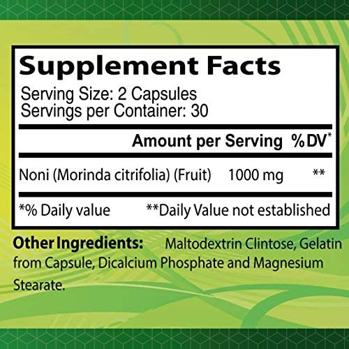 Noni 1000 Mg 60 Capsules – Tonic for Optimal Functioning of The Body – Antioxidant