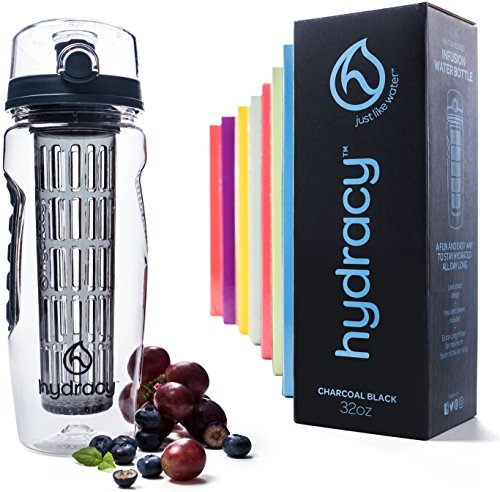 Hydracy Infuser Water Bottle with Full Length Infusion Rod and Insulating Sleeve Combo Set + 25 Fruit Infused Water Recipes eBook Gift - Large 32 Oz Sport Bottle - Charcoal Black