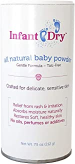 Infant Dry All Natural Baby Powder (7.5oz)   Gentle Formula Talc