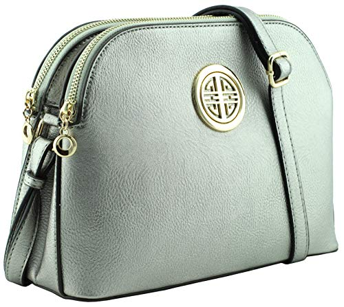 Multi pockets functional dome shape cross body bag with gold tone emblem (Light Pewter)