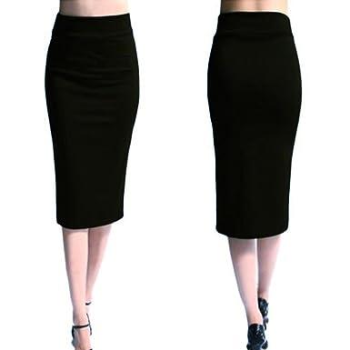 9b3a8f126195 OHQ Jupe éLastique Crayon pour Femme Noir Violet Rouge Femmes Solide Taille  Haute Jupes Longues Evasees Soldes Plisse Courtes Imprimee Skinny ...