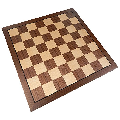 Kratos Chess Board with Inlaid Walnut Wood – Board Only – 15 Inch ()