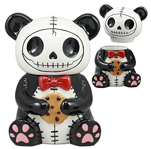 Ebros Furry Bones Pandie Panda Ceramic Cookie Jar Furrybones Voodoo Panda With Cookie Collectible Kitchen Hosting Dining Accessory Cute Panda Skeleton Statue