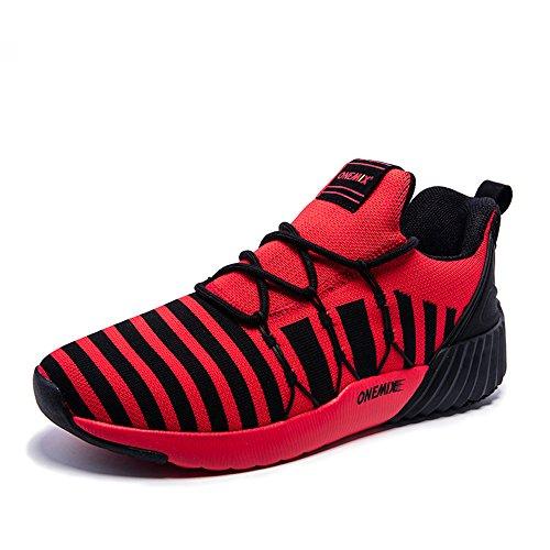 Herren Mesh Breath Laufschuhe Zebra Schnürung Afterburn Downforce Sneaker Rot schwarz
