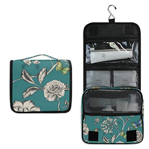 - Hanging Toiletry Bag Décor Floral Waterproof Wash Bag Makeup Organizer for Bathroom Men Women