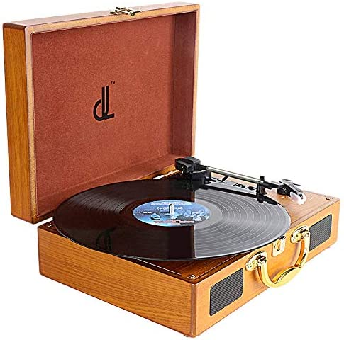 PC Encoding Record Player,DLITIME 3-Speed Vinyl Turntable Built-in 1W Speakers, RCA AUX Headphone Jack DC Radio Player