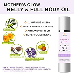 Organic Belly Oil For Pregnancy & 100% Natural Full Body Moisturizer Prevent Stretch Marks, Nourishing Massage Oil & Best Postpartum Beauty SkinCare Products During After Pregnancy, Mother's Glow 4 oz